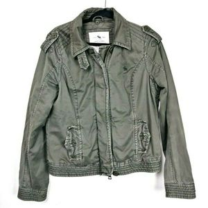 Abercrombie Army Green Distressed Utility Jacket